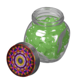 Quilted Wagon Wheels, Abstract Rainbow Design Glass Candy Jars