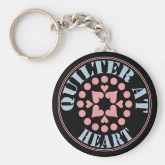 Quilter At Heart, Circular Block Keychain