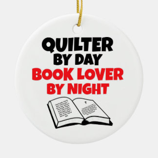 Quilter by Day Book Lover by Night Double-Sided Ceramic Round Christmas Ornament