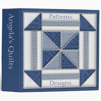 Quilter Collection in Blue and White Quilt Pattern 3 Ring Binder