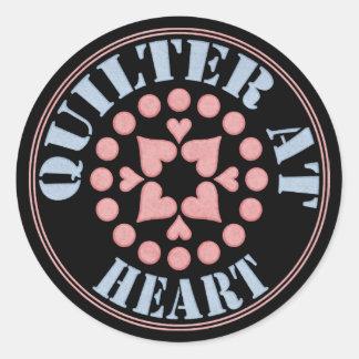 Quilter en el corazón, bloque circular pegatina redonda