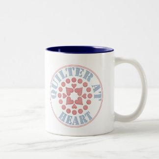 Quilter en el corazón, bloque circular taza de café de dos colores