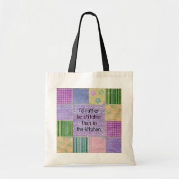 pinkladybugs Quilter Humor Patchwork Tote Bag