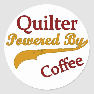 Quilter Powered By Coffee Classic Round Sticker