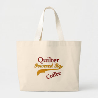 Quilter Powered By Coffee Large Tote Bag