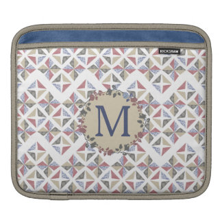 quilter quilting fabric blocks floral monogram sleeve for iPads