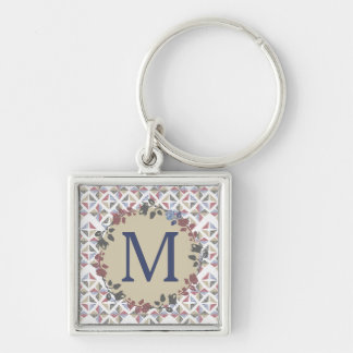 quilter quilting fabric blocks floral monogram Silver-Colored square keychain