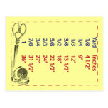 Quilters and Sewers Yard Measurements Postcard
