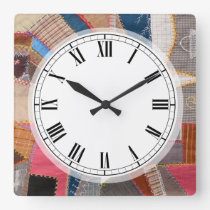 Quilter's Antique American Quilt Pattern Square Wall Clock