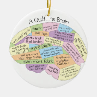 Quilter's Brain Ceramic Ornament