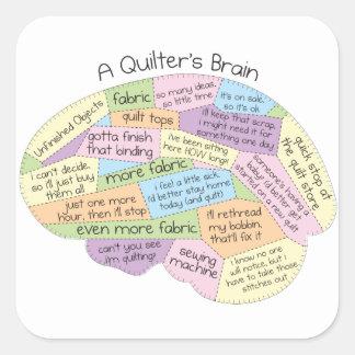Quilter's Brain Square Sticker