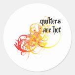 Quilters es caliente etiquetas redondas