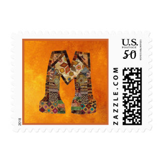 "Quilter's Fall Colors Letter ""M' Postage Stamp"