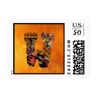 "Quilter's Fall Colors Letter ""W' Postage Stamp"