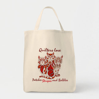 Quilters love cats delft(Patches/Stripes/Bobbles) Tote Bag