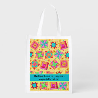 Quilters Love to Recycle Fabric Yellow Quilt Art Reusable Grocery Bag
