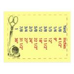 Quilters y medidas de la yarda de las alcantarilla tarjetas postales