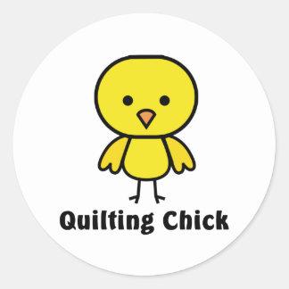 Quilting Chick Classic Round Sticker