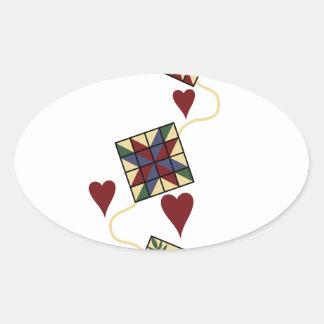 Quilting Design Oval Sticker