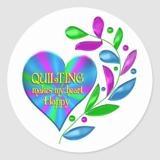 Quilting Happy Heart Classic Round Sticker