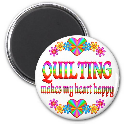 Quilting Heart Happy 2 Inch Round Magnet