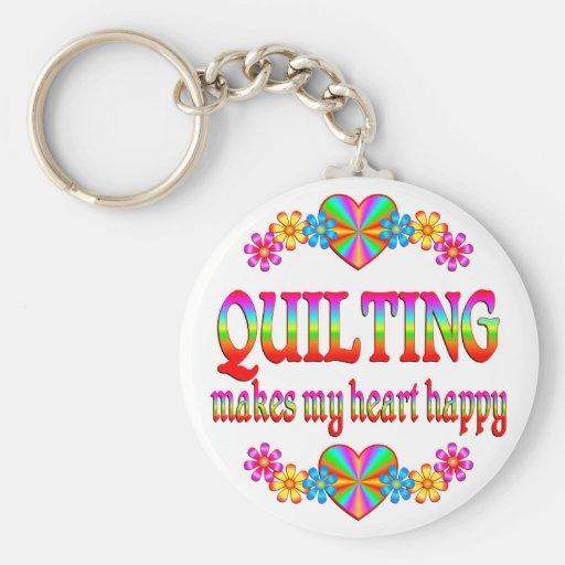 Quilting Heart Happy Basic Round Button Keychain