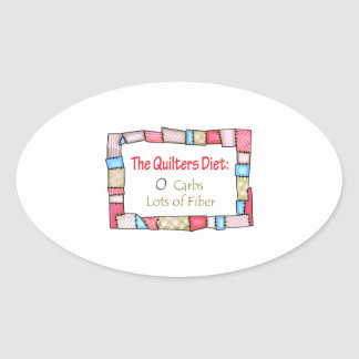 QUILTING HUMOR OVAL STICKER