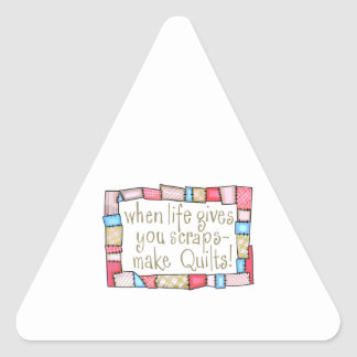 QUILTING HUMOR TRIANGLE STICKER