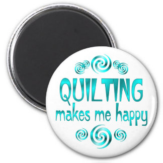 Quilting Makes Me Happy 2 Inch Round Magnet