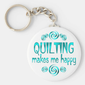 Quilting Makes Me Happy Basic Round Button Keychain