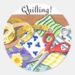 Quilting Notions Round Sticker
