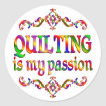 Quilting Passion Classic Round Sticker