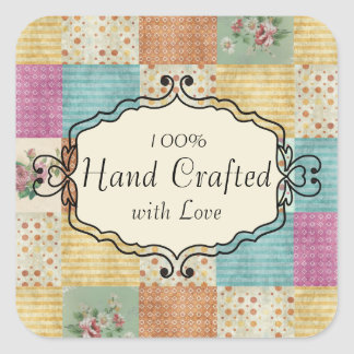 Quilting patchwork grunge quilter gift tag label square sticker