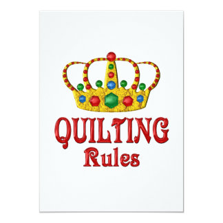 QUILTING RULES 5X7 PAPER INVITATION CARD