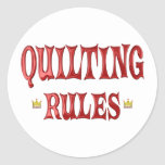Quilting Rules Round Stickers