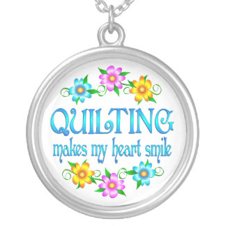 Quilting Smiles Round Pendant Necklace