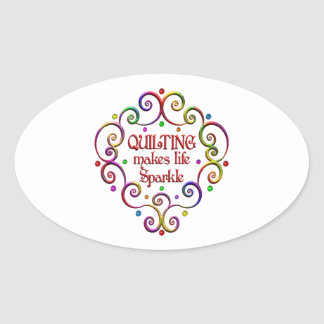 Quilting Sparkles Oval Sticker