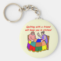 Quilting with a friend keychain