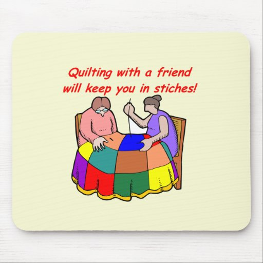 Quilting with a friend mouse pad