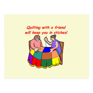Quilting with a friend postcard
