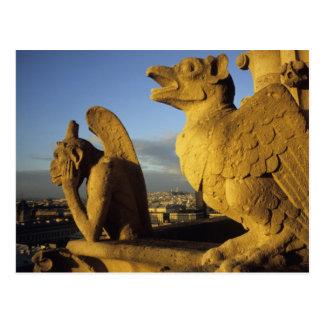 Quimera, con referencia a dama Cathedral, París, Tarjetas Postales