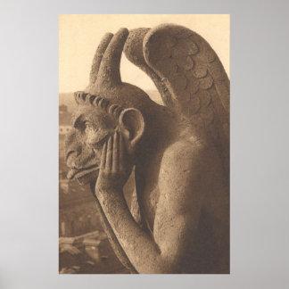 Quimera del Gargoyle de Notre Dame Póster