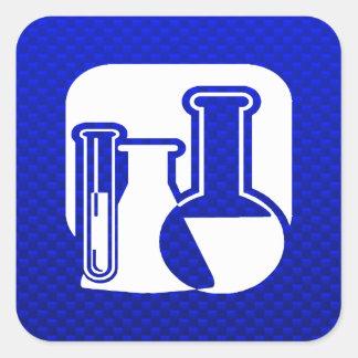 Química azul calcomanías cuadradas