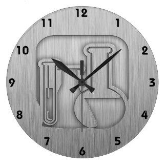 Química cepillada de la Metal-mirada Reloj Redondo Grande