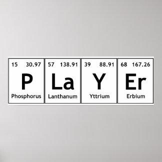 Química de las palabras de los elementos de tabla póster