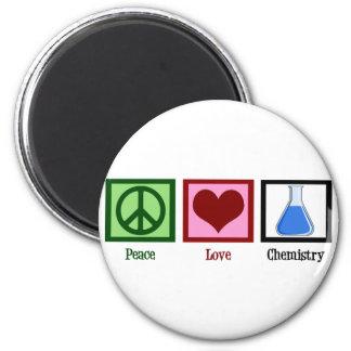 Química del amor de la paz imán redondo 5 cm