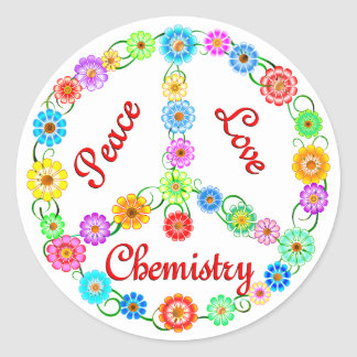 Química del amor de la paz pegatinas redondas