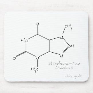 Alfombrilla de ratón con la molécula de teobromina