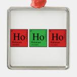 Química del navidad adorno cuadrado plateado