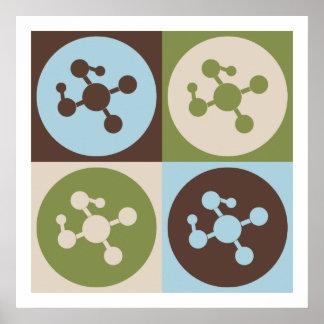 Química del polímero del arte pop póster